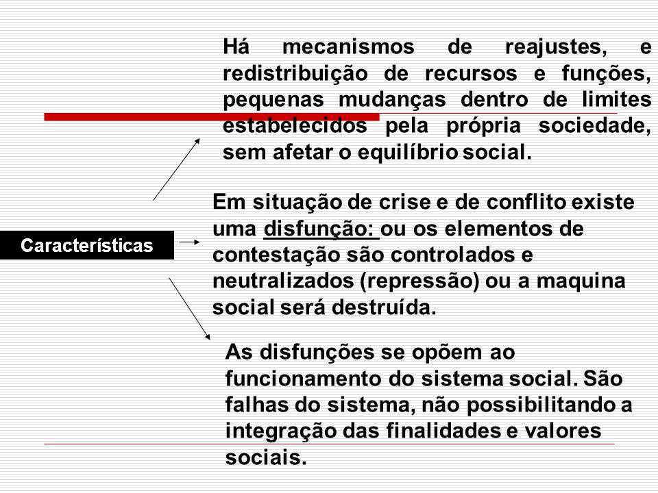 Características Há mecanismos de reajustes, e redistribuição de recursos e funções, pequenas mudanças dentro de limites estabelecidos pela própria soc