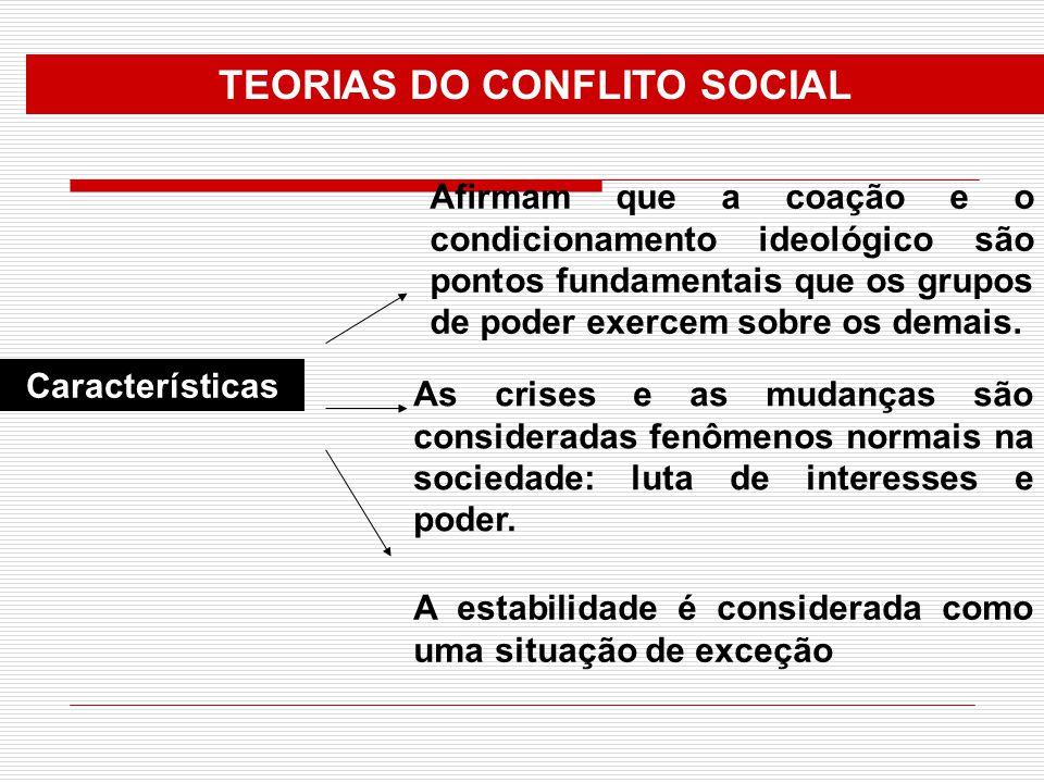 Características TEORIAS DO CONFLITO SOCIAL Afirmam que a coação e o condicionamento ideológico são pontos fundamentais que os grupos de poder exercem