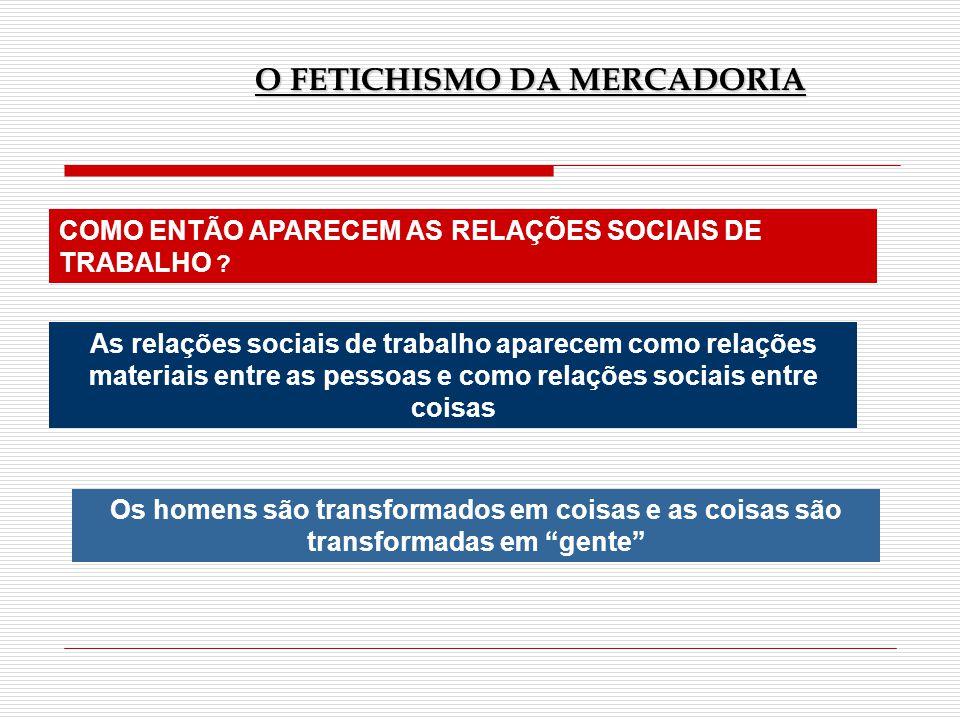 COMO ENTÃO APARECEM AS RELAÇÕES SOCIAIS DE TRABALHO ? As relações sociais de trabalho aparecem como relações materiais entre as pessoas e como relaçõe