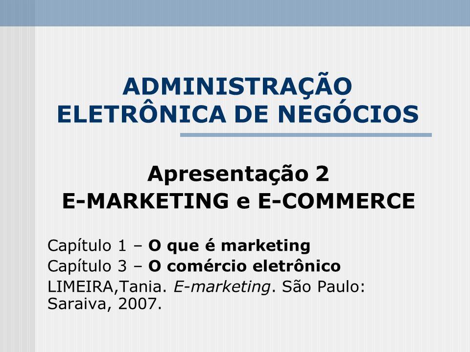 ADMINISTRAÇÃO ELETRÔNICA DE NEGÓCIOS Apresentação 2 E-MARKETING e E-COMMERCE Capítulo 1 – O que é marketing Capítulo 3 – O comércio eletrônico LIMEIRA