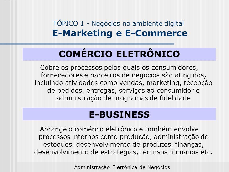Administração Eletrônica de Negócios TÓPICO 1 - Negócios no ambiente digital E-Marketing e E-Commerce COMÉRCIO ELETRÔNICO Consiste na realização de negócios por meio da Internet, nos segmentos de mercado consumidor, empresarial e governamental: venda de produtos e serviços físicos, entregues off-line produtos que podem ser digitalizados e entregues on-line