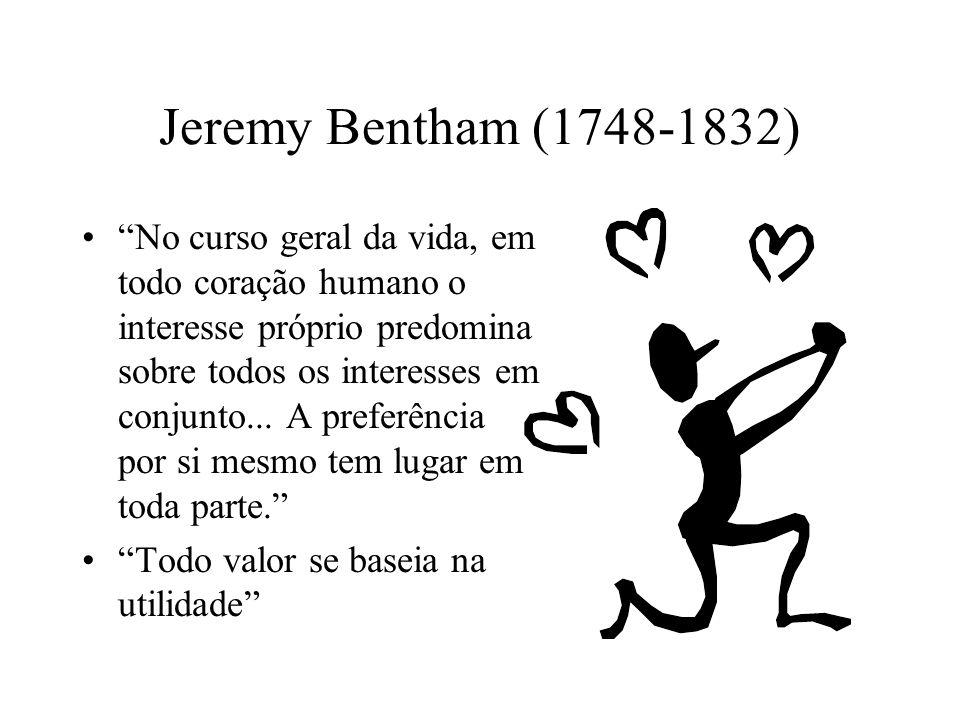 Jeremy Bentham (1748-1832) No curso geral da vida, em todo coração humano o interesse próprio predomina sobre todos os interesses em conjunto... A pre
