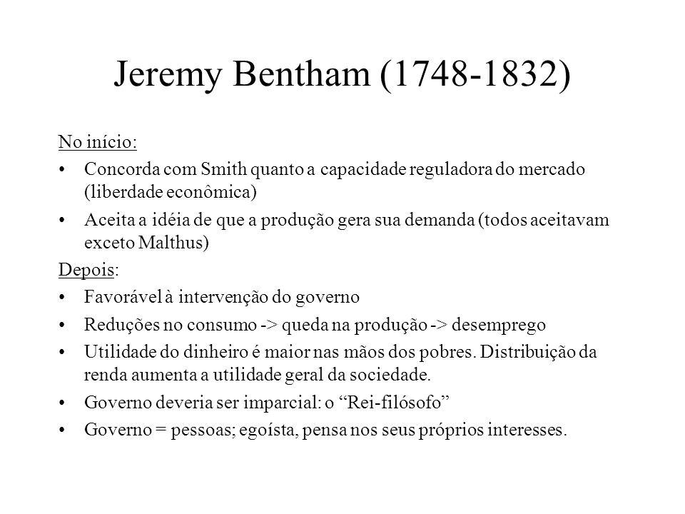 Jeremy Bentham (1748-1832) No início: Concorda com Smith quanto a capacidade reguladora do mercado (liberdade econômica) Aceita a idéia de que a produção gera sua demanda (todos aceitavam exceto Malthus) Depois: Favorável à intervenção do governo Reduções no consumo -> queda na produção -> desemprego Utilidade do dinheiro é maior nas mãos dos pobres.