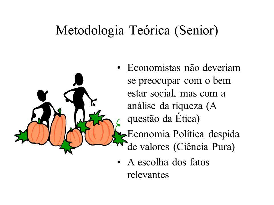 Metodologia Teórica (Senior) Economistas não deveriam se preocupar com o bem estar social, mas com a análise da riqueza (A questão da Ética) Economia Política despida de valores (Ciência Pura) A escolha dos fatos relevantes