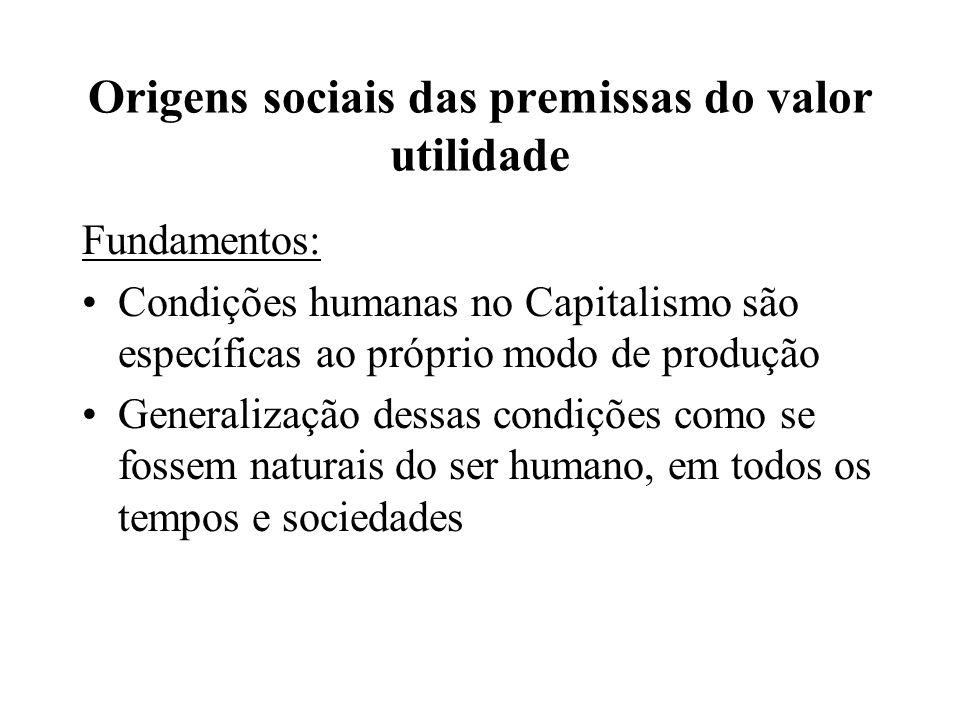 Origens sociais das premissas do valor utilidade Fundamentos: Condições humanas no Capitalismo são específicas ao próprio modo de produção Generalização dessas condições como se fossem naturais do ser humano, em todos os tempos e sociedades