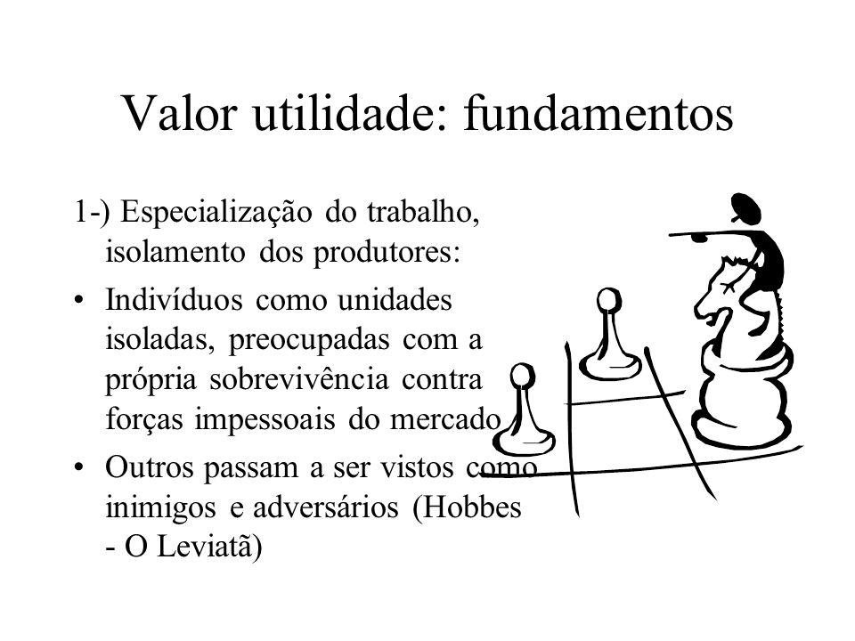 Valor utilidade: fundamentos 1-) Especialização do trabalho, isolamento dos produtores: Indivíduos como unidades isoladas, preocupadas com a própria s