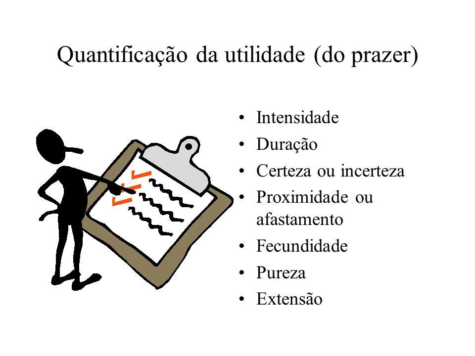 Quantificação da utilidade (do prazer) Intensidade Duração Certeza ou incerteza Proximidade ou afastamento Fecundidade Pureza Extensão