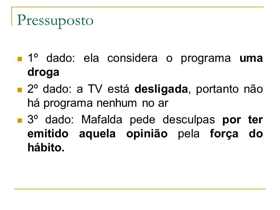 1º dado: ela considera o programa uma droga 2º dado: a TV está desligada, portanto não há programa nenhum no ar 3º dado: Mafalda pede desculpas por te