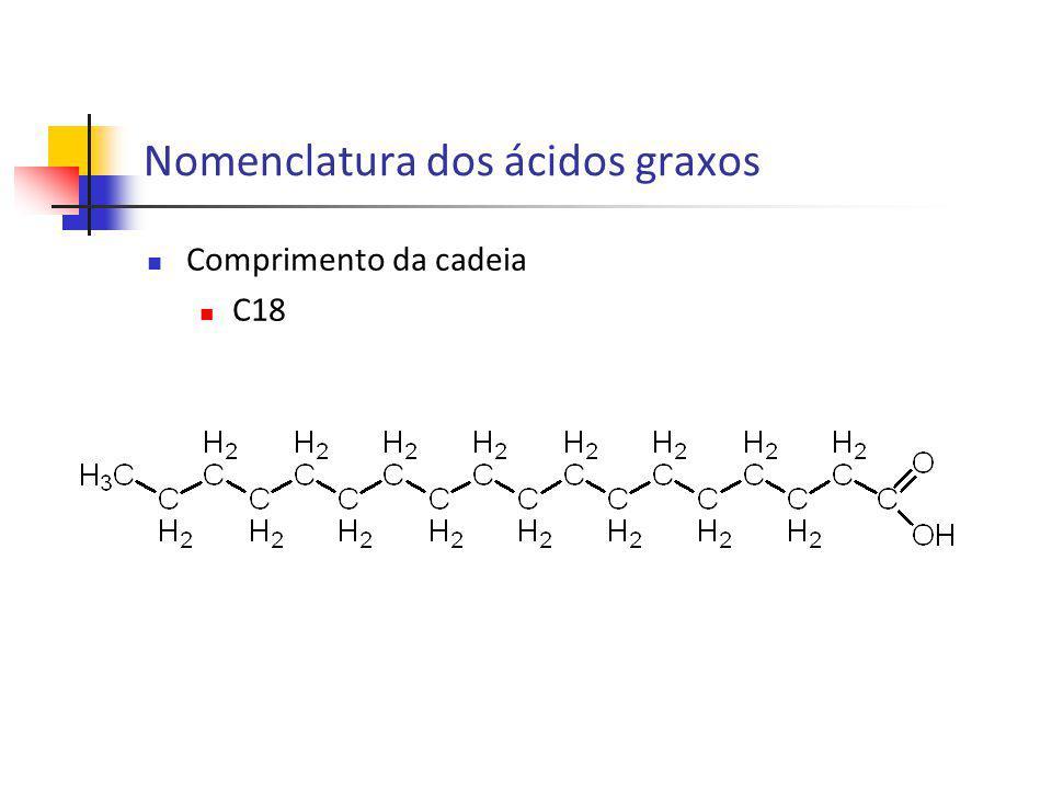 Número de ligações duplas C18:0 Ácido esteárico Nomenclatura dos ácidos graxos
