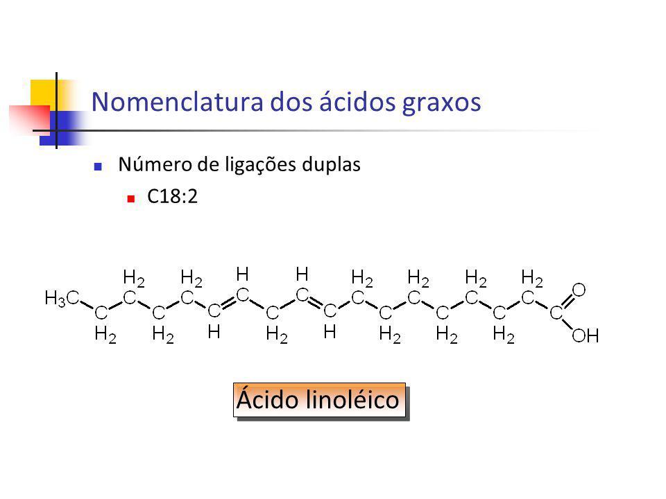 Número de ligações duplas C18:2 Ácido linoléico Nomenclatura dos ácidos graxos