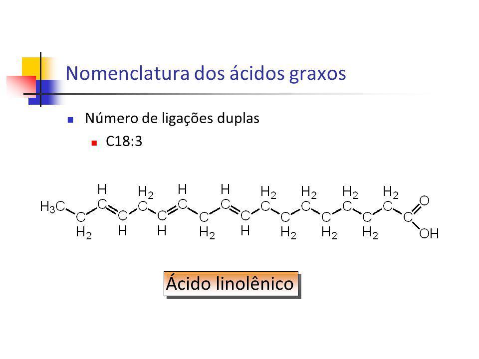 Nomenclatura de acordo com a localização da primeira ligação dupla, a partir da extremidade do grupamento metil Sistema ômega (ômega 3, 3) Sistema n (n–3) Nomenclatura dos ácidos graxos