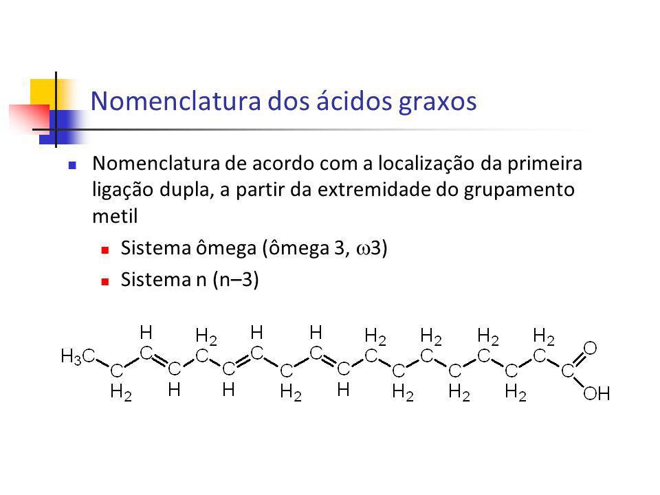 Nomenclatura de acordo com a localização da primeira ligação dupla, a partir da extremidade do grupamento metil Sistema ômega (ômega 3, 3) Sistema n (