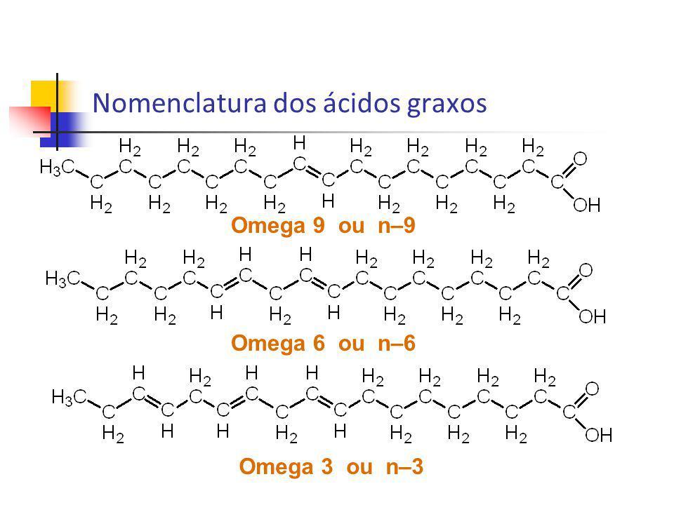 Síntese de ácidos graxos C-C-C=C-C-C=C-C-C=C-C-C-C-C-C-C-C-COOH Animais conseguem sintetizar ácido graxo ômega 9, mas não ômega 3 e ômega 6 (dieta); Peixes de água fria acumulam grande quantidade de ômega 3; Gatos não sintetizam ácido araquidônico a partir do ácido linoléico (para eles é essencial) Ω-3Ω-6Ω-9