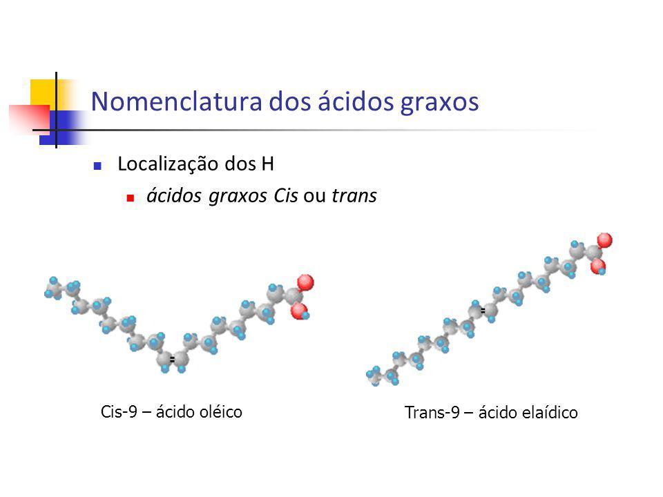 H 3 C C H 2 C H 2 C H 2 C H 2 C H 2 C H 2 C H 2 C H Cis-9 – ácido oléico Trans-9 – ácido elaídico Nomenclatura dos ácidos graxos