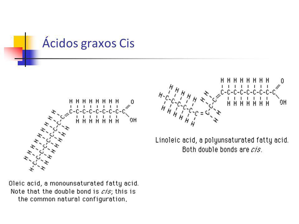 Gordura Trans Gordura trans - contém ácidos graxos insaturados na configuração trans; Gordura formada por um processo de hidrogenação, quer seja natural (ocorrido no rúmen de animais - biohidrogenação) ou artificial (industrial).