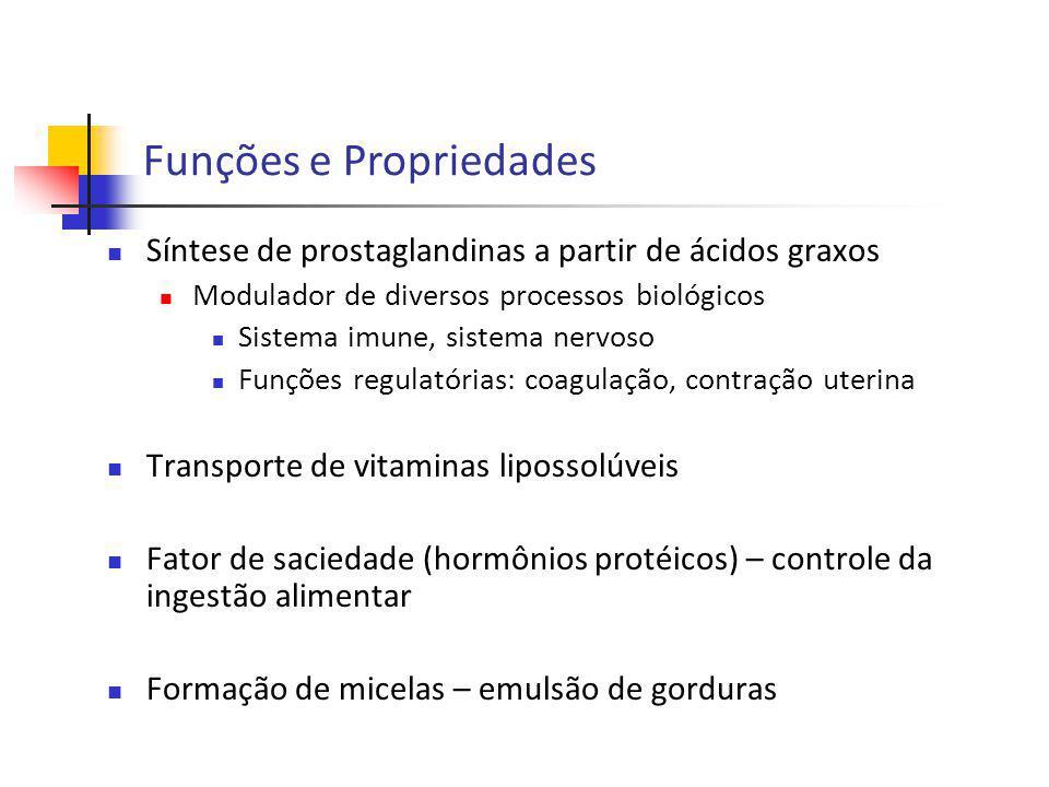 Síntese de prostaglandinas a partir de ácidos graxos Modulador de diversos processos biológicos Sistema imune, sistema nervoso Funções regulatórias: c