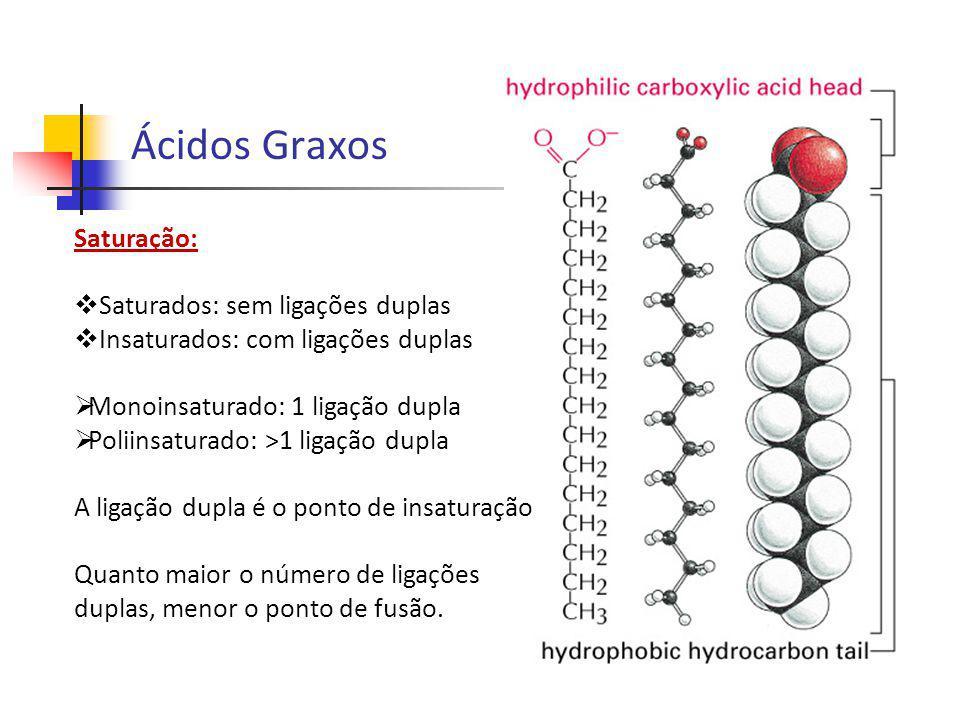 Saturação: Saturados: sem ligações duplas Insaturados: com ligações duplas Monoinsaturado: 1 ligação dupla Poliinsaturado: >1 ligação dupla A ligação