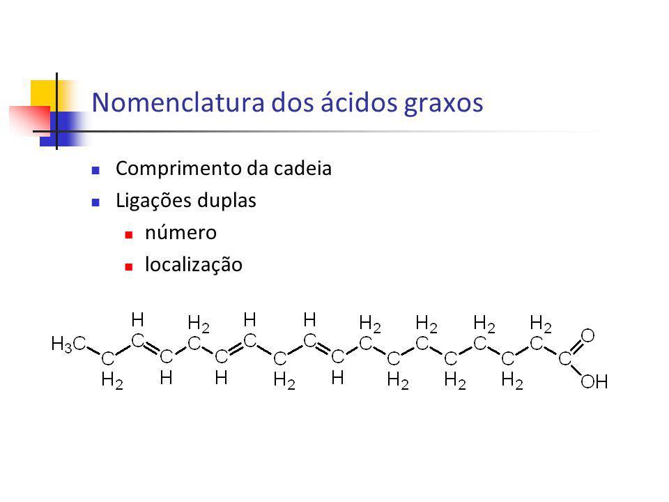 Nomenclatura dos ácidos graxos Comprimento da cadeia Ligações duplas número localização