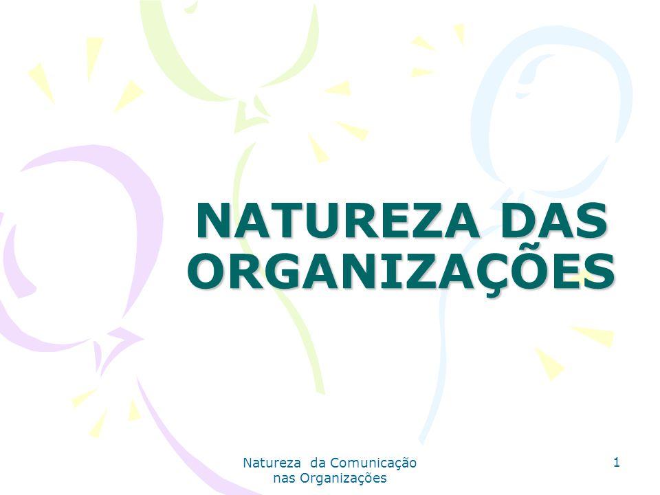 Natureza da Comunicação nas Organizações 1 NATUREZA DAS ORGANIZAÇÕES