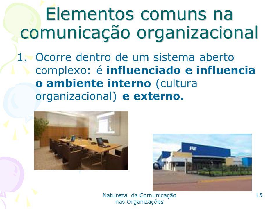 Natureza da Comunicação nas Organizações 15 Elementos comuns na comunicação organizacional 1.Ocorre dentro de um sistema aberto complexo: é influenciado e influencia o ambiente interno (cultura organizacional) e externo.
