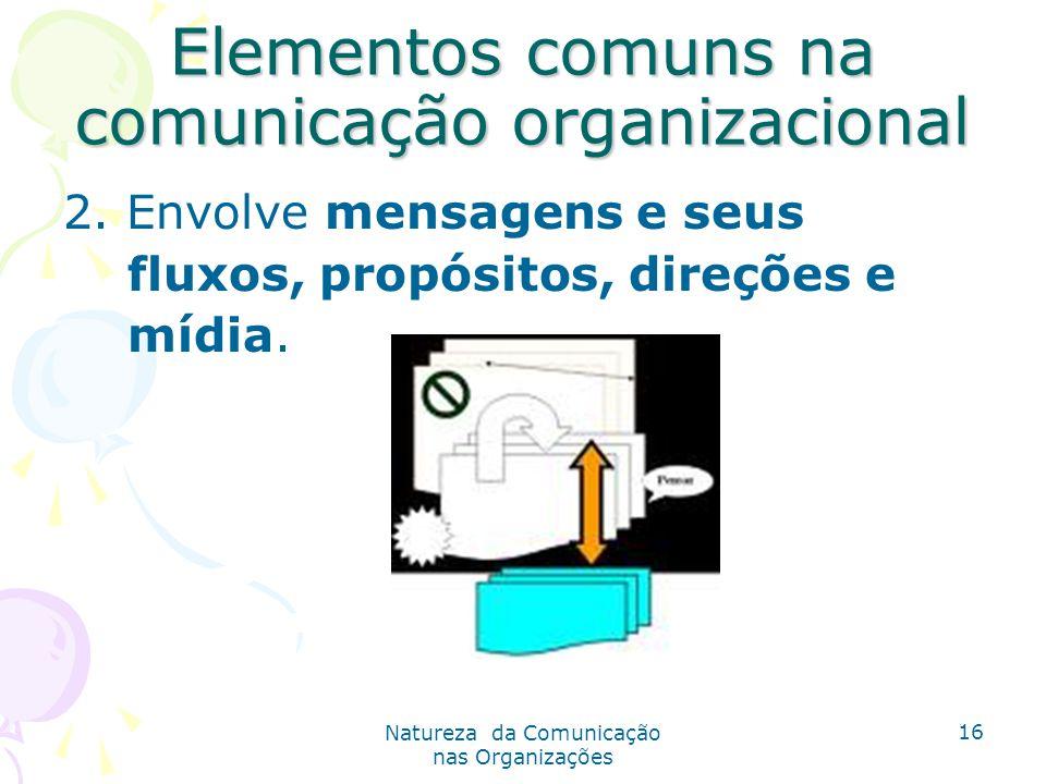 Natureza da Comunicação nas Organizações 16 Elementos comuns na comunicação organizacional 2.