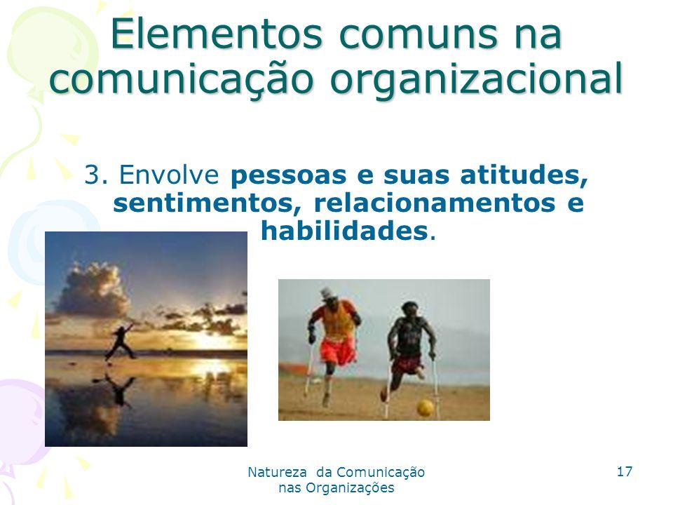 Natureza da Comunicação nas Organizações 17 Elementos comuns na comunicação organizacional 3.