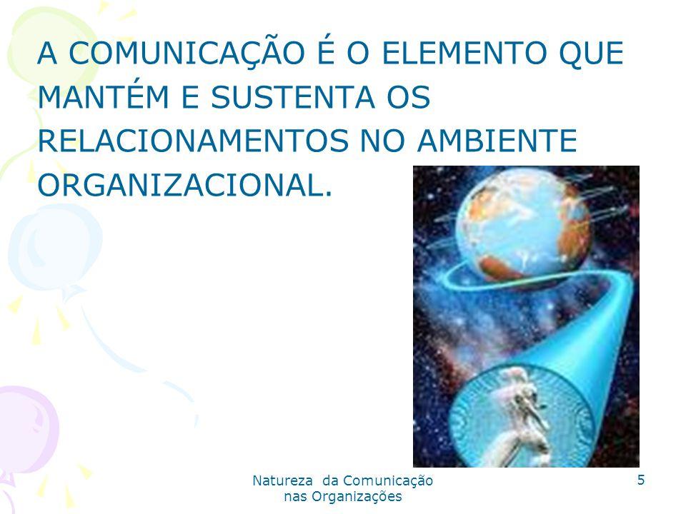 Natureza da Comunicação nas Organizações 5 A COMUNICAÇÃO É O ELEMENTO QUE MANTÉM E SUSTENTA OS RELACIONAMENTOS NO AMBIENTE ORGANIZACIONAL.