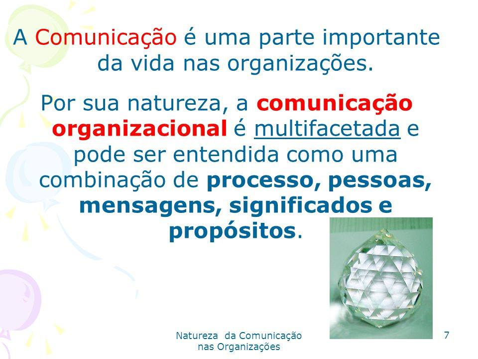 Natureza da Comunicação nas Organizações 7 A Comunicação é uma parte importante da vida nas organizações.