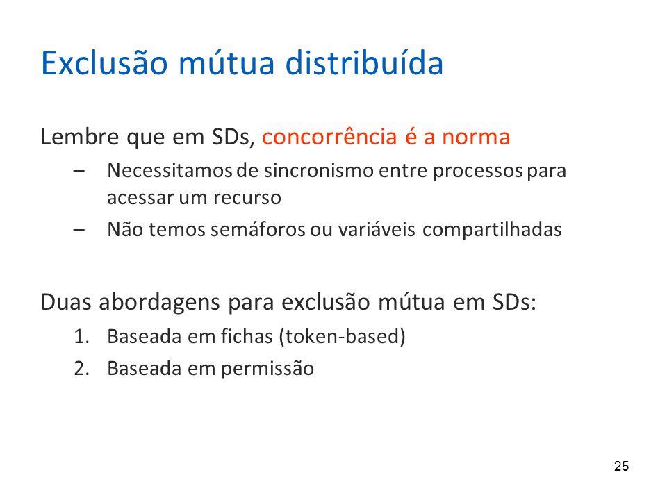 25 Exclusão mútua distribuída Lembre que em SDs, concorrência é a norma –Necessitamos de sincronismo entre processos para acessar um recurso –Não temos semáforos ou variáveis compartilhadas Duas abordagens para exclusão mútua em SDs: 1.Baseada em fichas (token-based) 2.Baseada em permissão