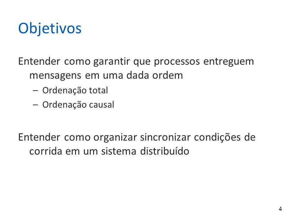 4 Objetivos Entender como garantir que processos entreguem mensagens em uma dada ordem –Ordenação total –Ordenação causal Entender como organizar sinc