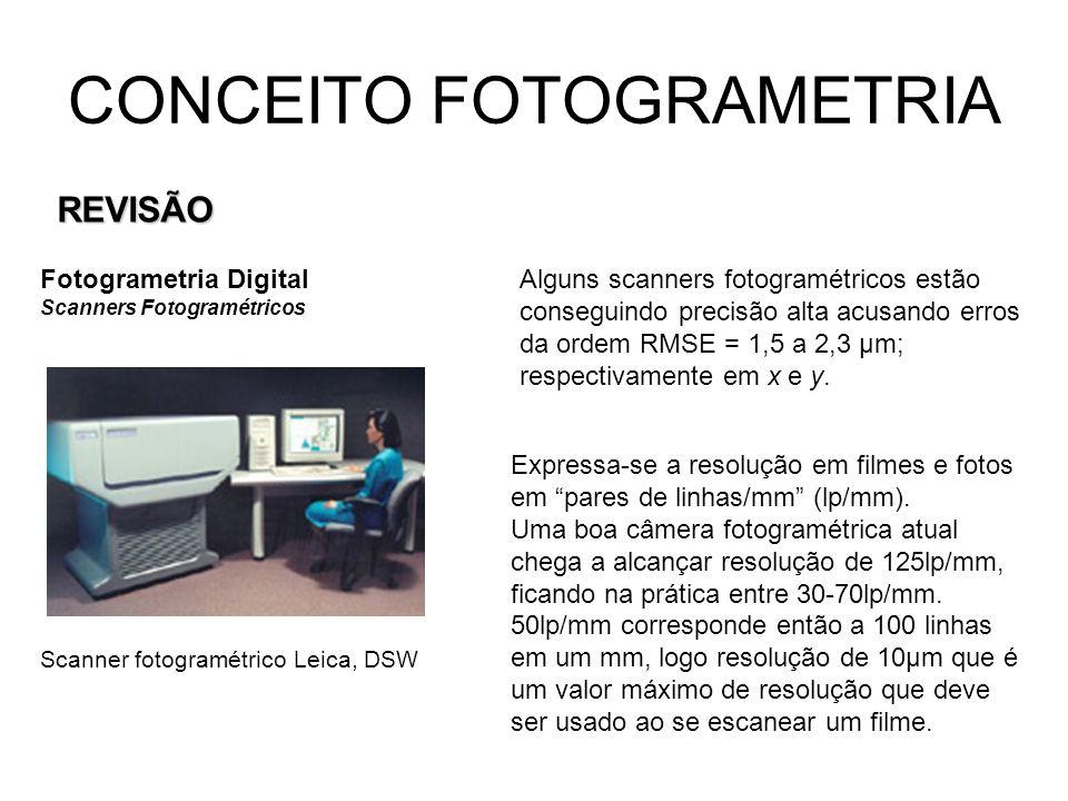 CONCEITO FOTOGRAMETRIA REVISÃO Fotogrametria Digital Scanners Fotogramétricos Scanner fotogramétrico Leica, DSW Alguns scanners fotogramétricos estão