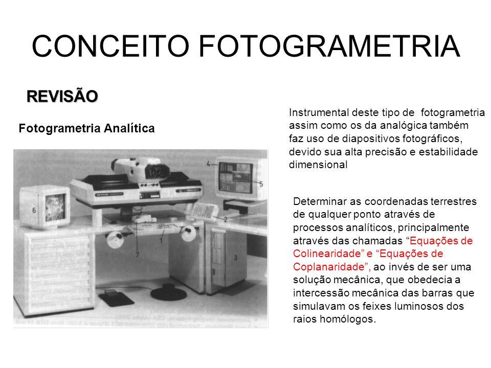 CONCEITO FOTOGRAMETRIA REVISÃO Fotogrametria Digital Em Fotogrametria Digital trabalha-se com fotos ou imagens no formato digital (softcopy), enquanto na Fotogrametria Analógica trabalha-se nos diafilmes fotográficos de altíssima precisão (hardcopy).