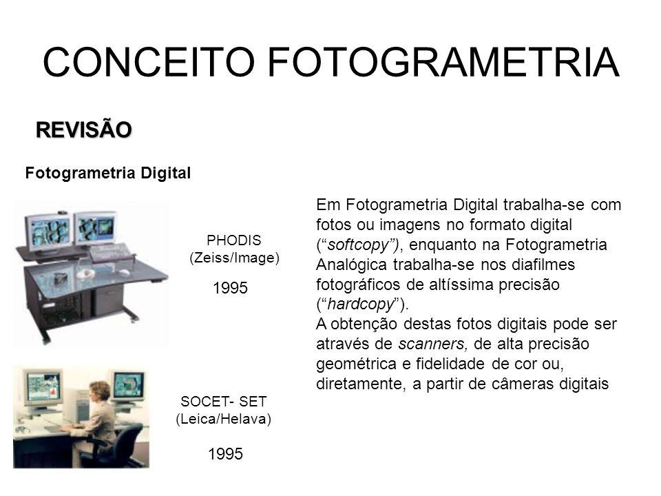 CONCEITO FOTOGRAMETRIA REVISÃO Fotogrametria Digital Câmera digital Leica ADS-40 Câmera digital Zeiss/Image A câmera digital ADS-40 não toma uma chapa fotográfica quadrada como as câmeras convencionais de filmes, possui 7 sensores tipo CCD em linha que funcionam: 1 – de linha pancromático para trás; 2 – de linha pancromático nadiral; 3 – de linha pancromático para frente; 4 – de linha infravermelho próximo; 5, 6 e 7 linhas coloridas, azul, verde e vermelho.