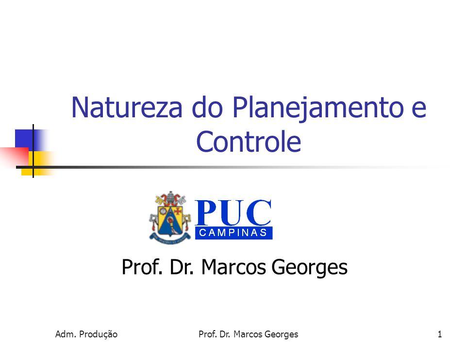 Adm. ProduçãoProf. Dr. Marcos Georges1 Natureza do Planejamento e Controle Prof. Dr. Marcos Georges