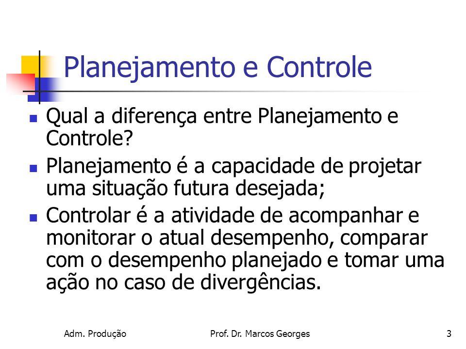 Adm. ProduçãoProf. Dr. Marcos Georges3 Planejamento e Controle Qual a diferença entre Planejamento e Controle? Planejamento é a capacidade de projetar
