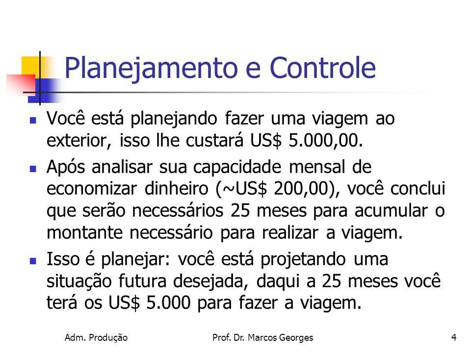 Adm. ProduçãoProf. Dr. Marcos Georges4 Planejamento e Controle Você está planejando fazer uma viagem ao exterior, isso lhe custará US$ 5.000,00. Após