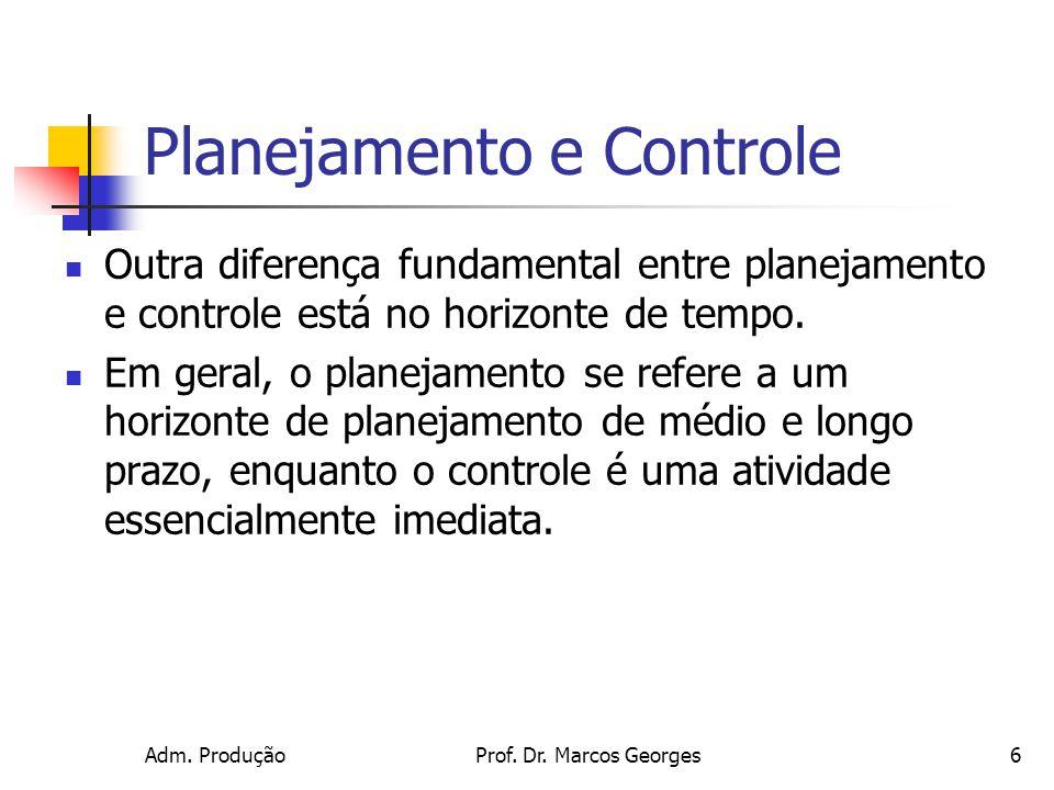Adm. ProduçãoProf. Dr. Marcos Georges6 Planejamento e Controle Outra diferença fundamental entre planejamento e controle está no horizonte de tempo. E