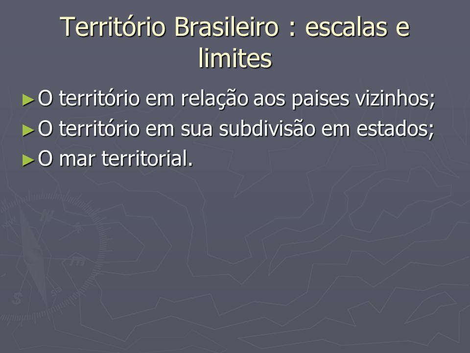 Território Brasileiro : escalas e limites O território em relação aos paises vizinhos; O território em relação aos paises vizinhos; O território em su