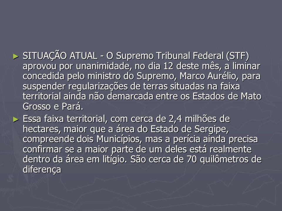 SITUAÇÃO ATUAL - O Supremo Tribunal Federal (STF) aprovou por unanimidade, no dia 12 deste mês, a liminar concedida pelo ministro do Supremo, Marco Au