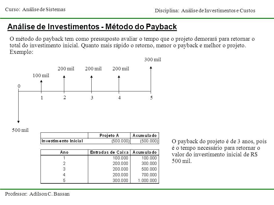 Curso: Análise de Sistemas Disciplina: Análise de Investimentos e Custos Professor: Adilson C. Bassan 0 1 2 3 Análise de Investimentos - Método do Pay
