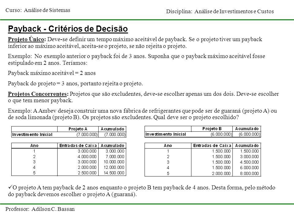 Curso: Análise de Sistemas Disciplina: Análise de Investimentos e Custos Professor: Adilson C. Bassan Payback - Critérios de Decisão Projeto Único: De