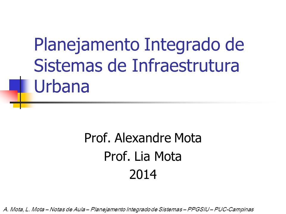 Planejamento Integrado de Sistemas de Infraestrutura Urbana Prof. Alexandre Mota Prof. Lia Mota 2014 A. Mota, L. Mota – Notas de Aula – Planejamento I