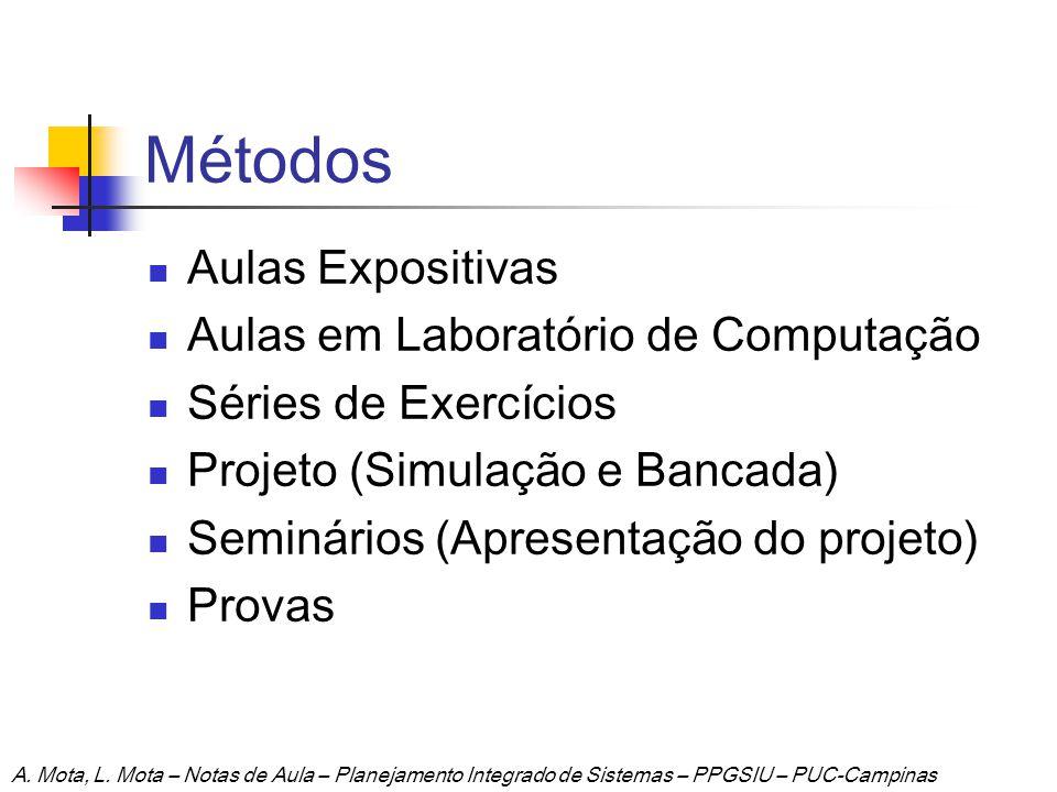 Métodos Aulas Expositivas Aulas em Laboratório de Computação Séries de Exercícios Projeto (Simulação e Bancada) Seminários (Apresentação do projeto) P