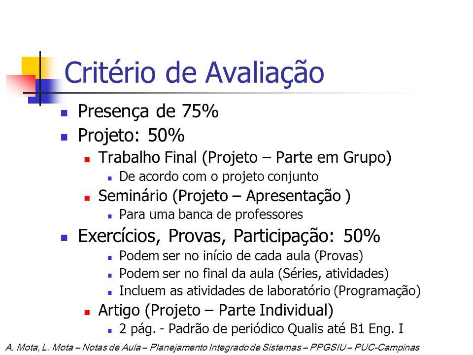 Critério de Avaliação Presença de 75% Projeto: 50% Trabalho Final (Projeto – Parte em Grupo) De acordo com o projeto conjunto Seminário (Projeto – Apr