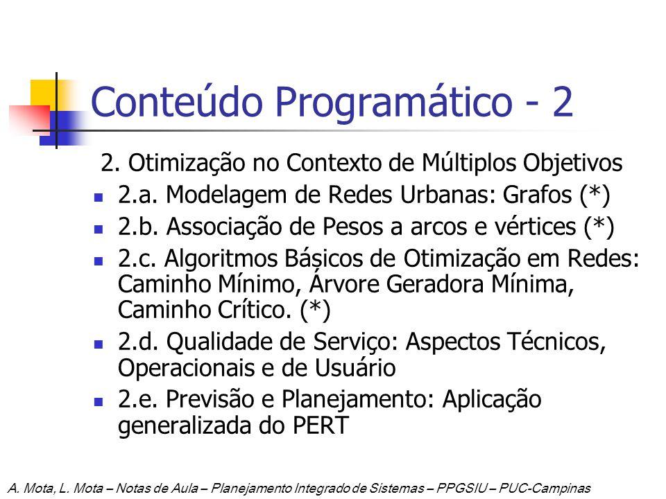 Conteúdo Programático - 2 2. Otimização no Contexto de Múltiplos Objetivos 2.a. Modelagem de Redes Urbanas: Grafos (*) 2.b. Associação de Pesos a arco