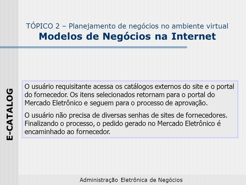 Administração Eletrônica de Negócios O usuário requisitante acessa os catálogos externos do site e o portal do fornecedor. Os itens selecionados retor