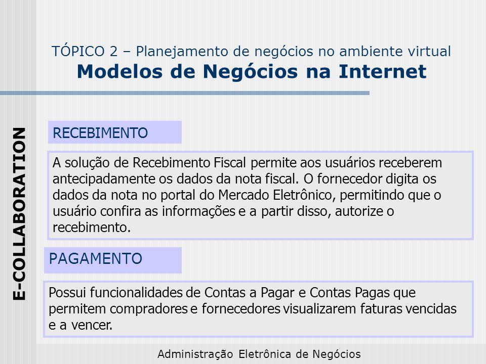 Administração Eletrônica de Negócios PAGAMENTO Possui funcionalidades de Contas a Pagar e Contas Pagas que permitem compradores e fornecedores visuali