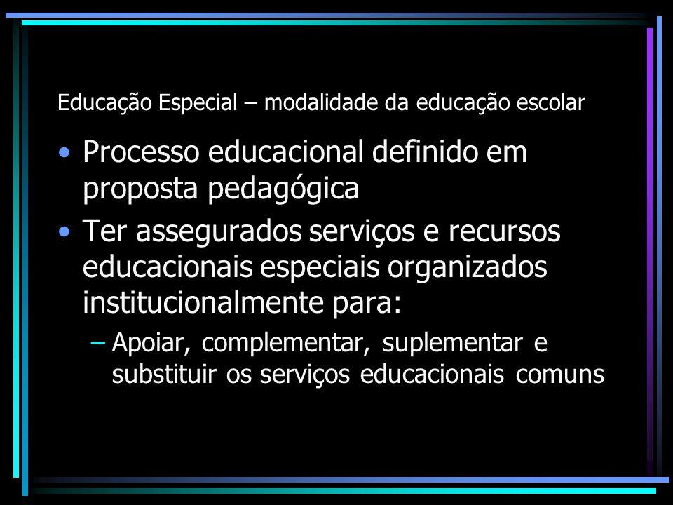 Educação Especial – modalidade da educação escolar Processo educacional definido em proposta pedagógica Ter assegurados serviços e recursos educaciona
