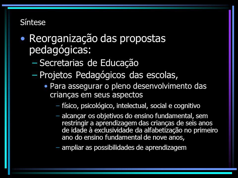 Síntese Reorganização das propostas pedagógicas: –Secretarias de Educação –Projetos Pedagógicos das escolas, Para assegurar o pleno desenvolvimento da
