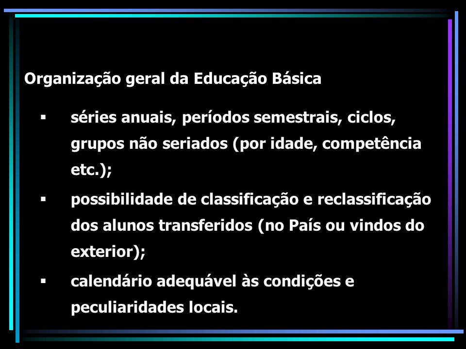 Regras estabelecidas para a Educação Básica (válidas para o E F) 800 horas/ano – carga horária mínima; 200 dias letivos/ano - duração mínima; Classificação dos alunos - por promoção transferência, avaliação feita pela escola; Dependência - progressão parcial (conforme o estabelecido no Regimento Escolar); Classes ou Turmas especiais - para Artes, Línguas estrangeiras etc.